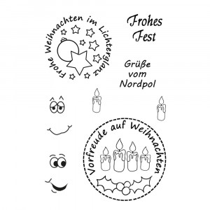 Stempel Clear, Frohes Fest, A7 / 74 x 105 mm, 8 - teilig, transparent